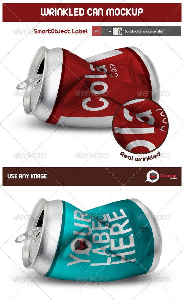 GraphicRiver Wrinkled Can Mockup 5405412