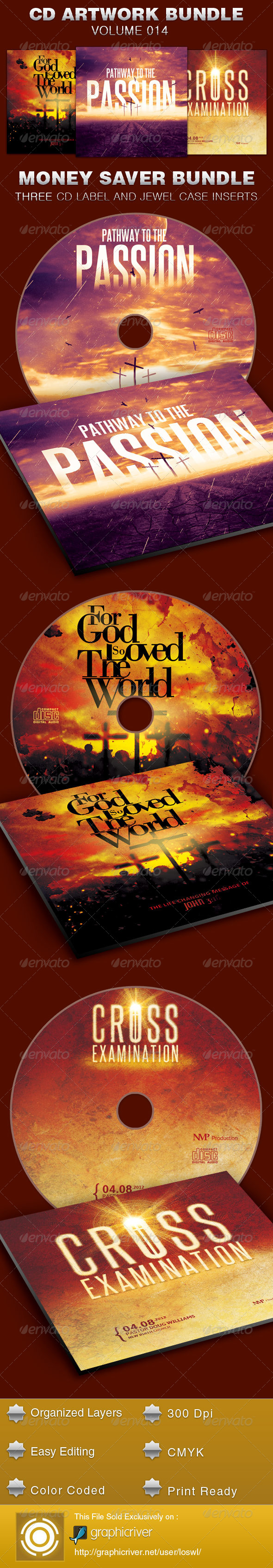 CD Cover Artwork Template Bundle-Vol 014 - CD & DVD artwork Print Templates
