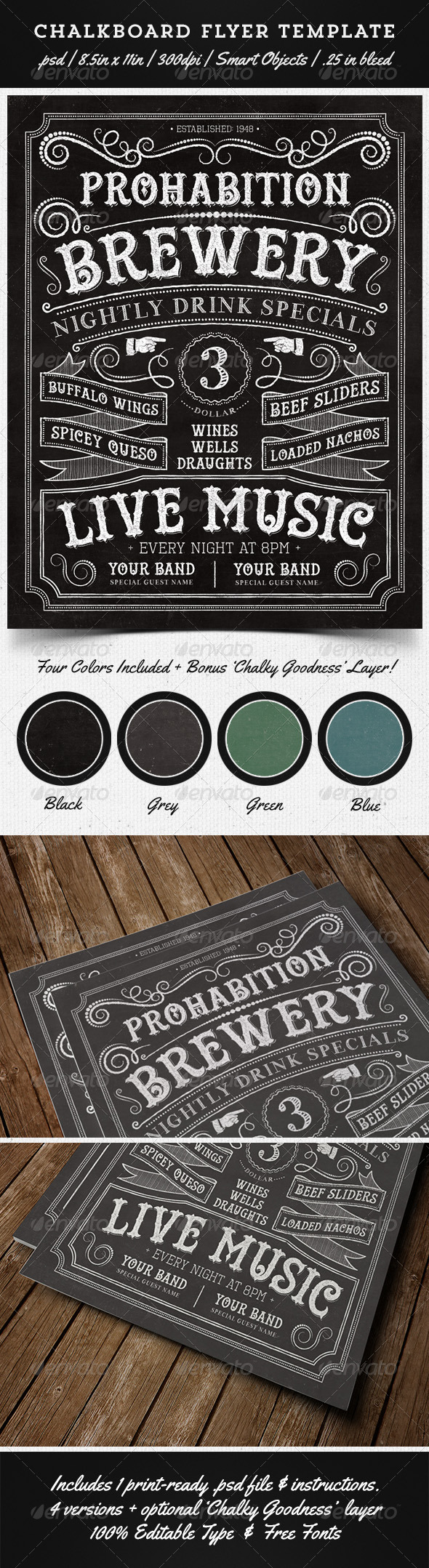 GraphicRiver Chalkboard Flyer Template 5405878