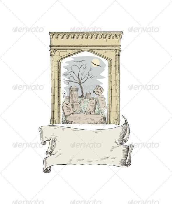 GraphicRiver Cemetery Arch Scroll Retro Style 5406337