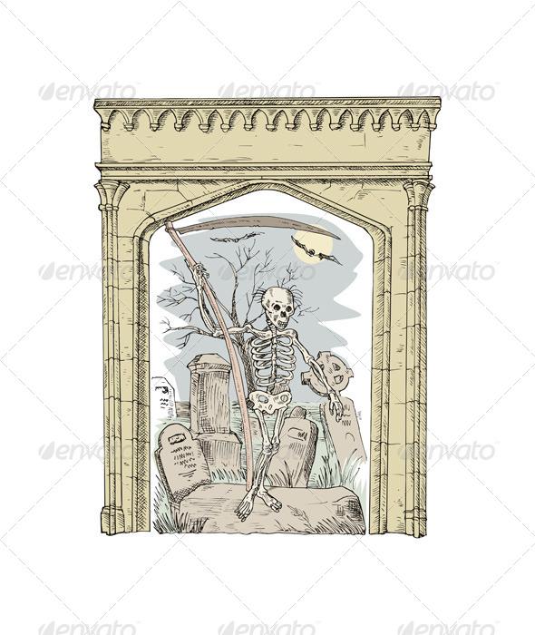 GraphicRiver Cemetery Arch Grim Reaper 5407260