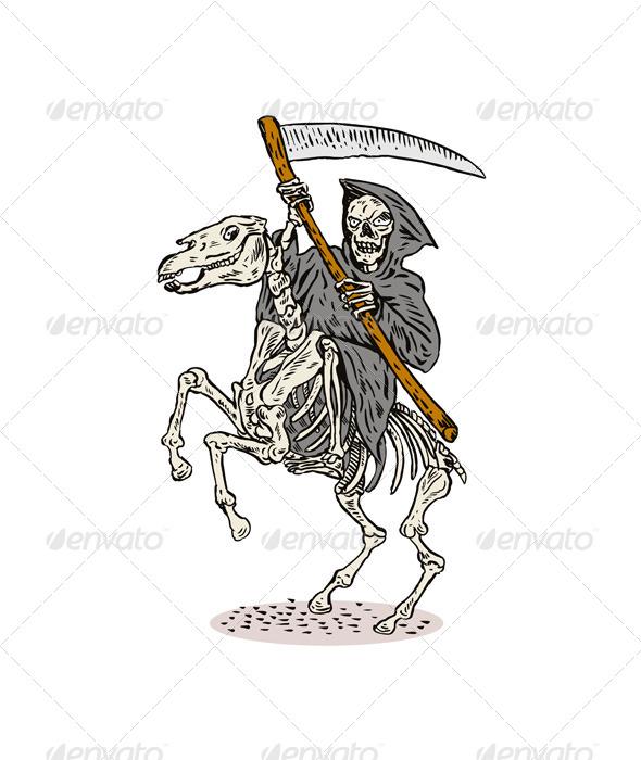 GraphicRiver Grim Reaper Skeleton Horseback 5407262