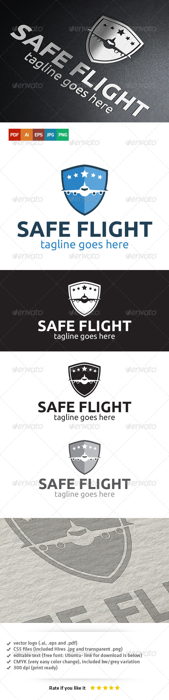 GraphicRiver Safe Flight Logo 5407986