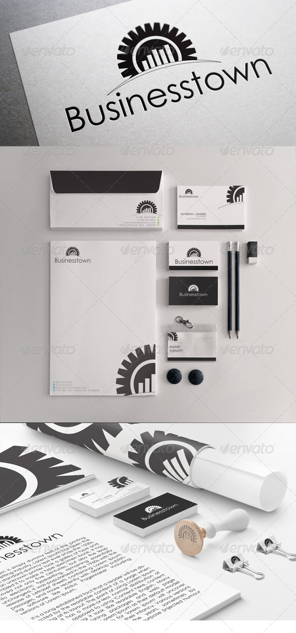 GraphicRiver Black & White Business Town Stationary Templates 5408801