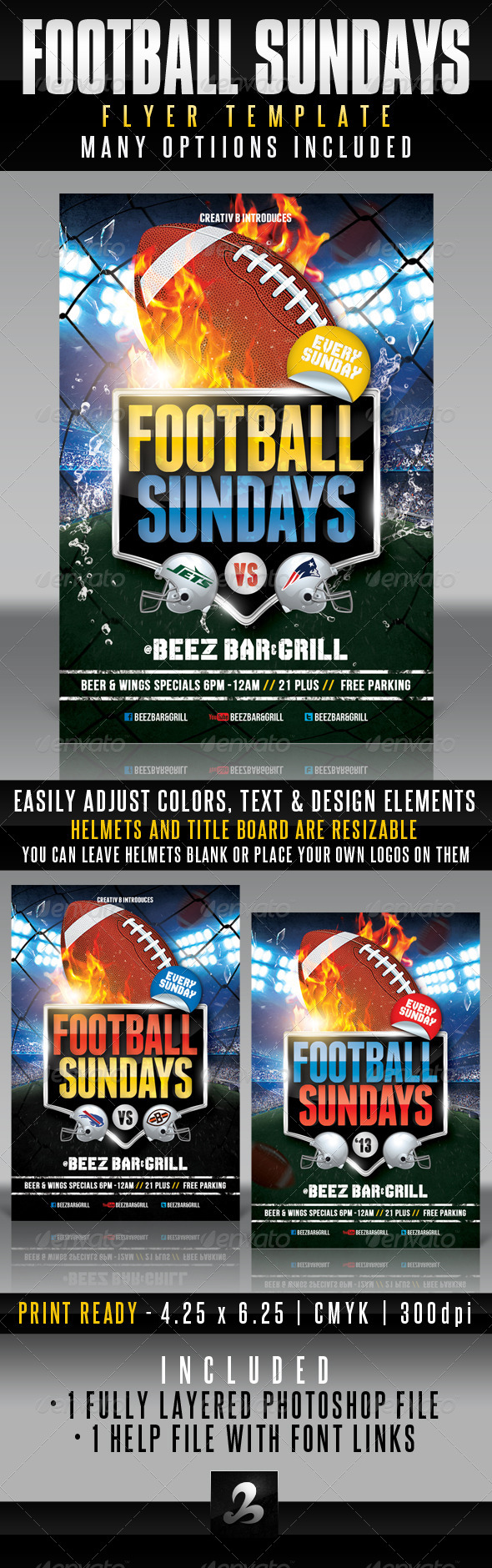 GraphicRiver Football Sundays Flyer Template 5409347