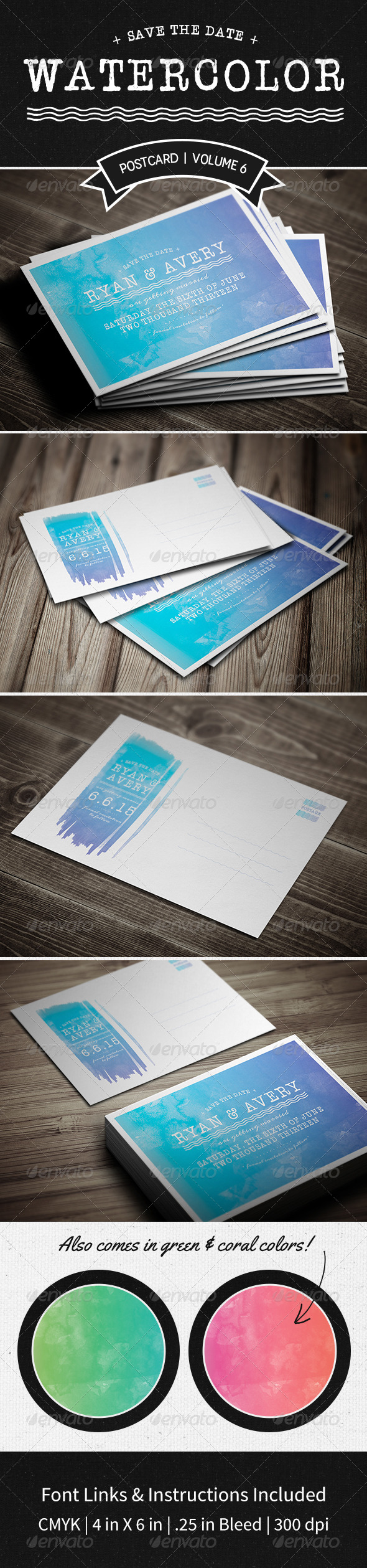 GraphicRiver Save The Date Postcard Volume 6 Watercolor 5377955