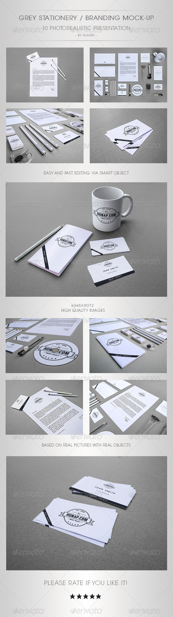 GraphicRiver Grey Stationery Branding Mock-Up 5410084