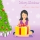 Happy Ggirl with Gift Box Near Christmas Tree - GraphicRiver Item for Sale