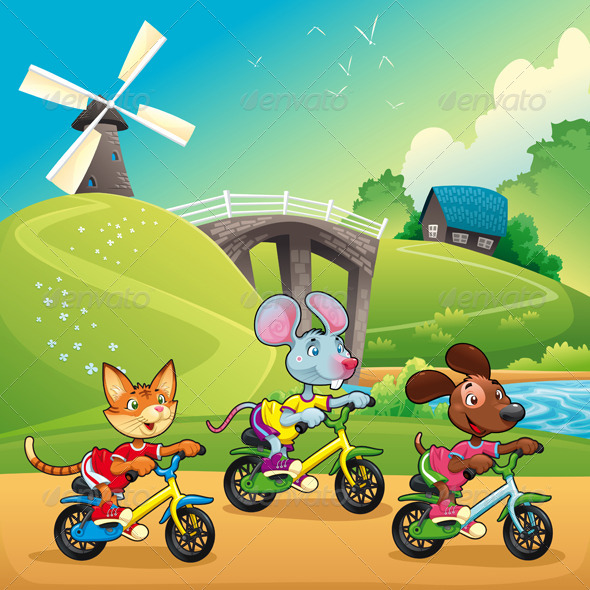 GraphicRiver Pets Going for a Ride in the Countryside 5411862