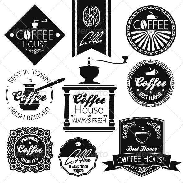 GraphicRiver Coffee Set Labels 5412033