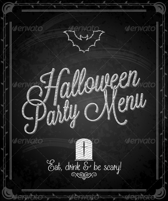 GraphicRiver Chalkboard Frame Halloween Menu 5412437