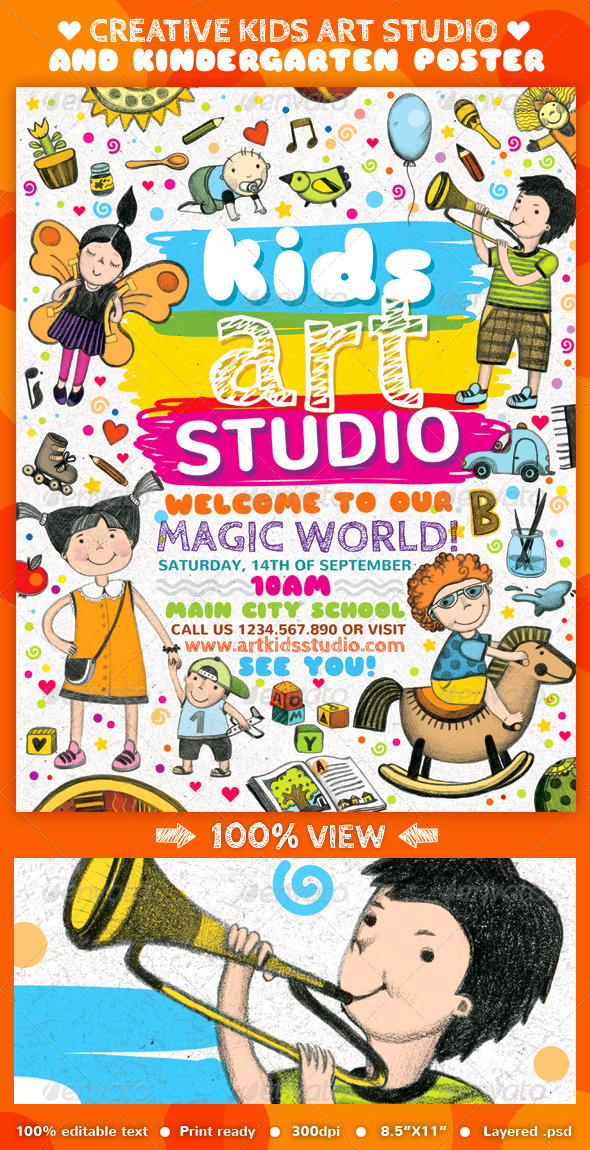 Creative Kids Art Studio and Kindergarten Poster - Events Flyers
