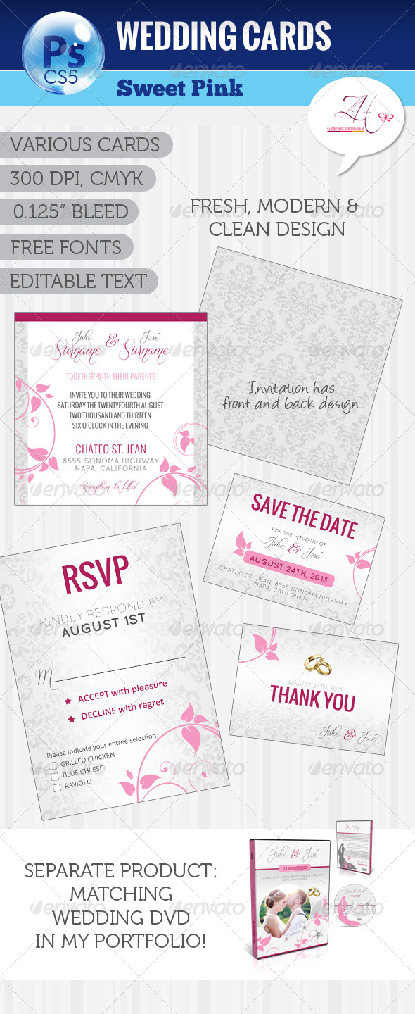 GraphicRiver Wedding Cards Sweet Pink 5328571