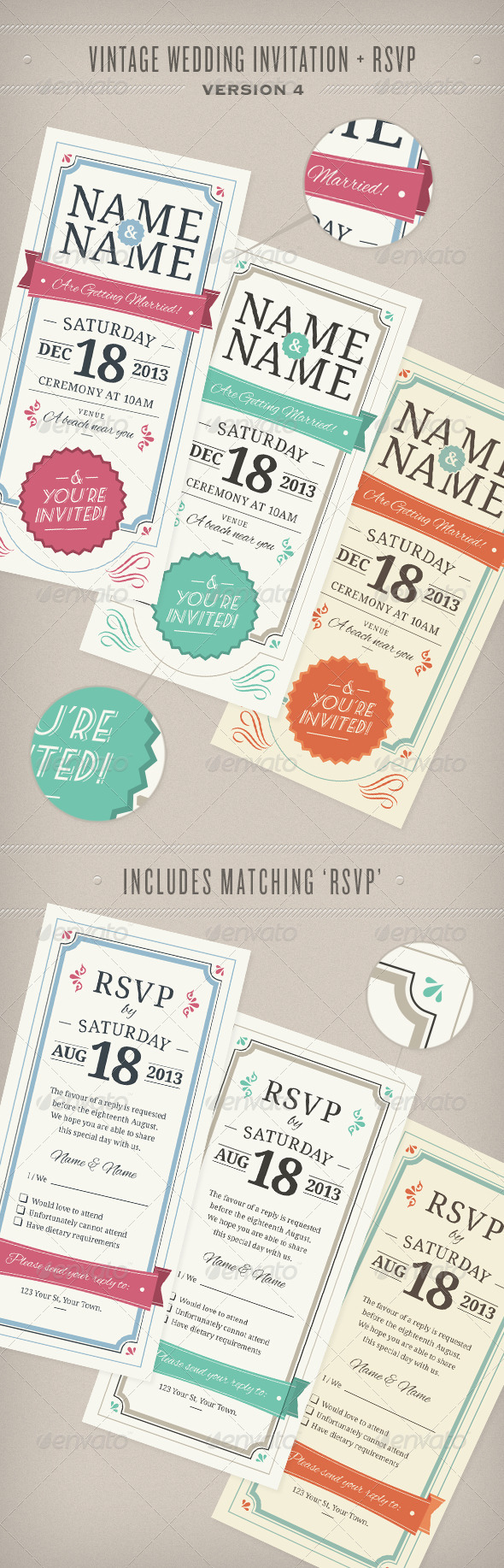 GraphicRiver Vintage Wedding Invitation & RSVP 5412875