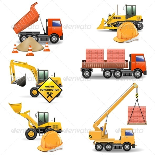 GraphicRiver Vector Construction Machines Set 4 5413922