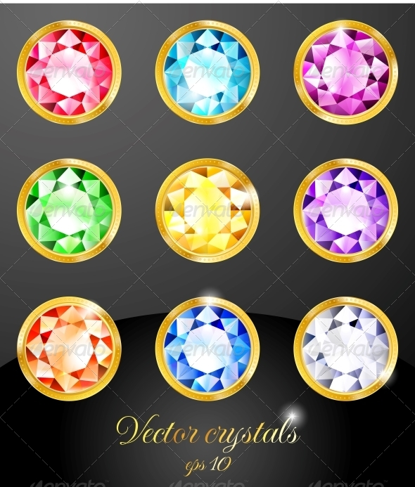 GraphicRiver Set of Colored Crystals 5413945