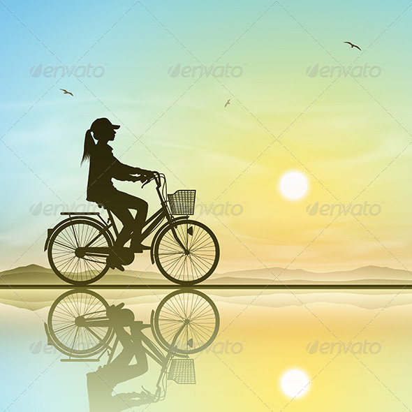 GraphicRiver Girl on a Bicycle 5413958
