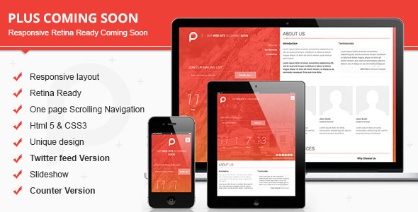 ThemeForest Plus Responsive Retina Ready Coming Soon 5414680