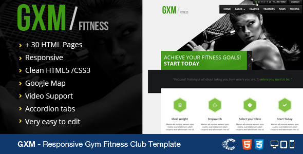 GXM-Responsive Gym Fitness Club HTML Template