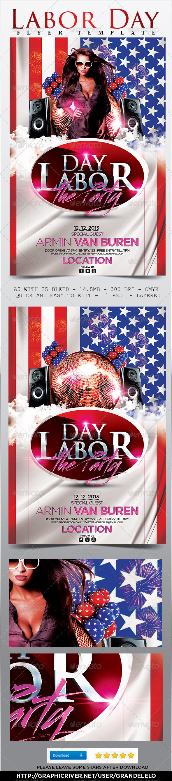 GraphicRiver Labor Day Flyer Template 5387832