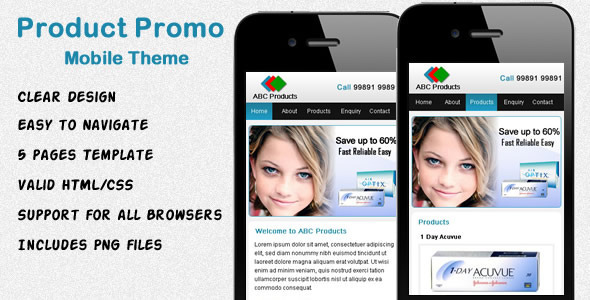 Product Promo Mobile Theme - Mobile Site Templates