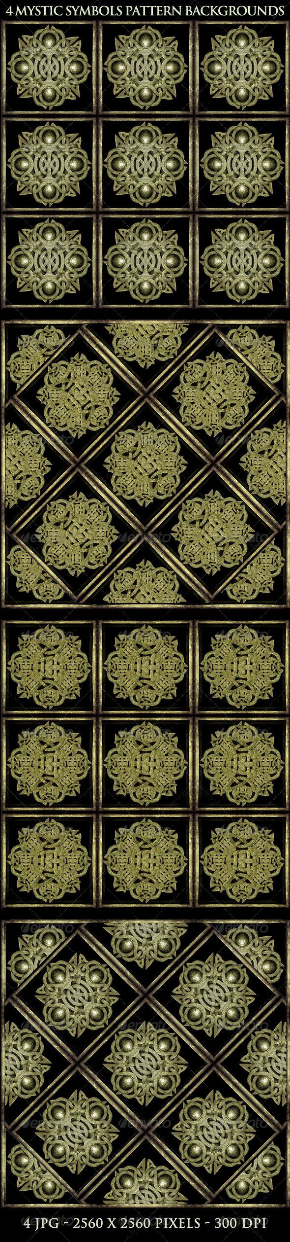 GraphicRiver 4 Mystic Symbols Background Patterns 5417351