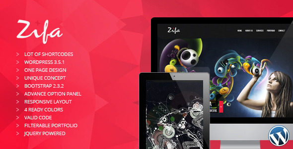 Zifa - Responsive Wordpress OnePage Theme