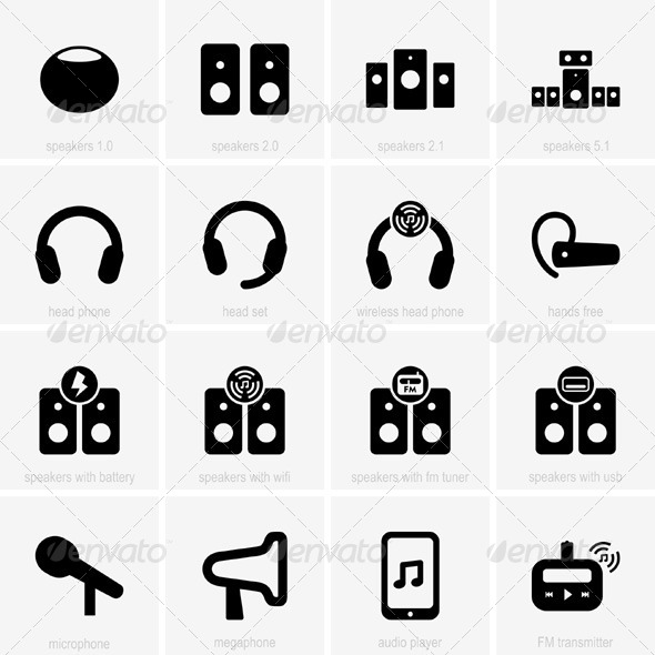 GraphicRiver Audio Icons 5417754
