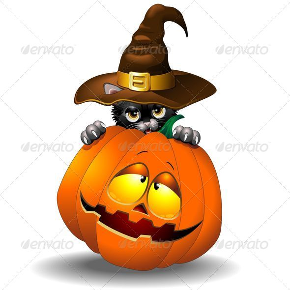 GraphicRiver Halloween Black Kitten Cartoon With Pumpkin 5421451