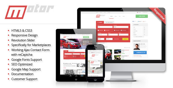 Motor - Vehicle Marketplace Responsive Template - Retail Site Templates