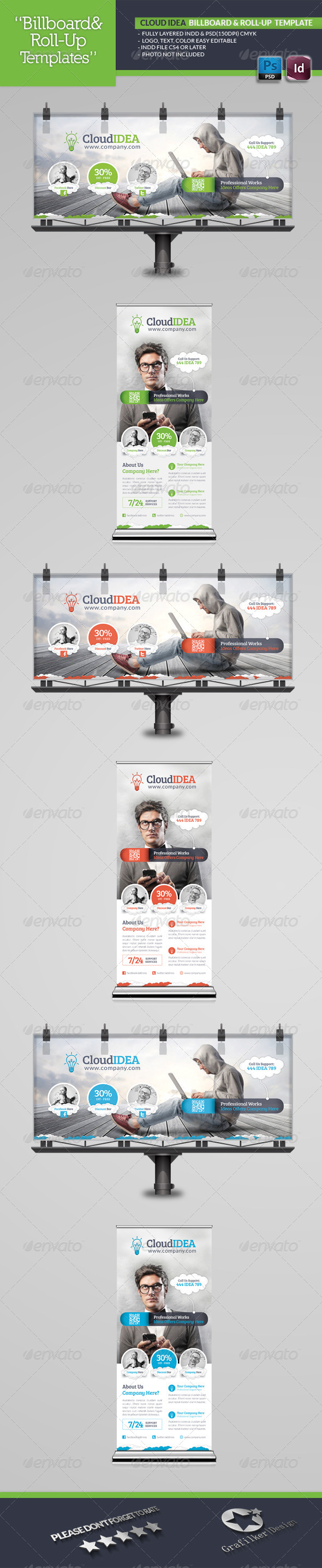 Cloud Idea Billboard & Roll-Up Template - Signage Print Templates