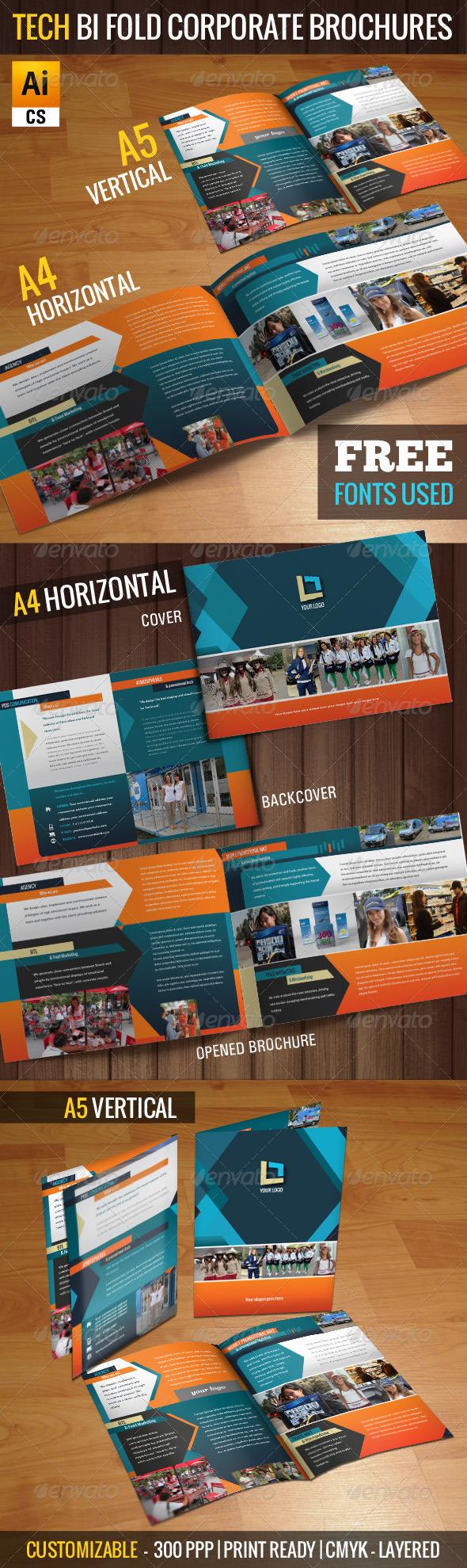 GraphicRiver Tech Bi-fold Corporate Brochures 5422310