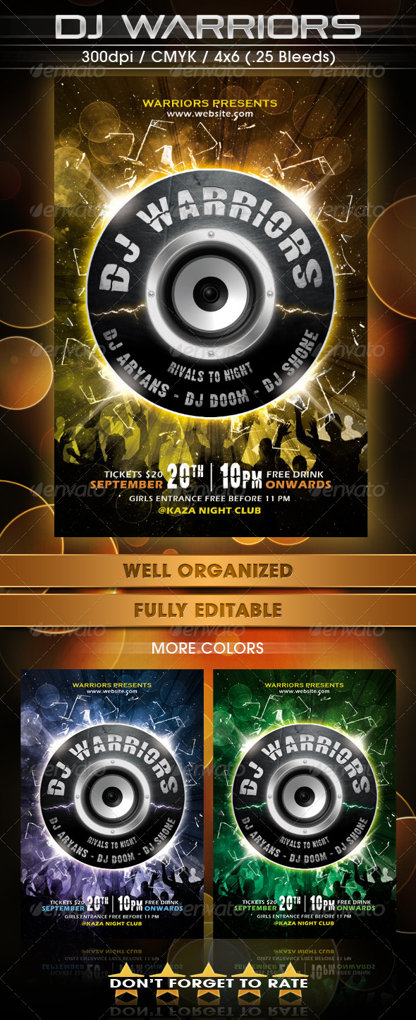 GraphicRiver DJ Warriors Flyer Template 5422580