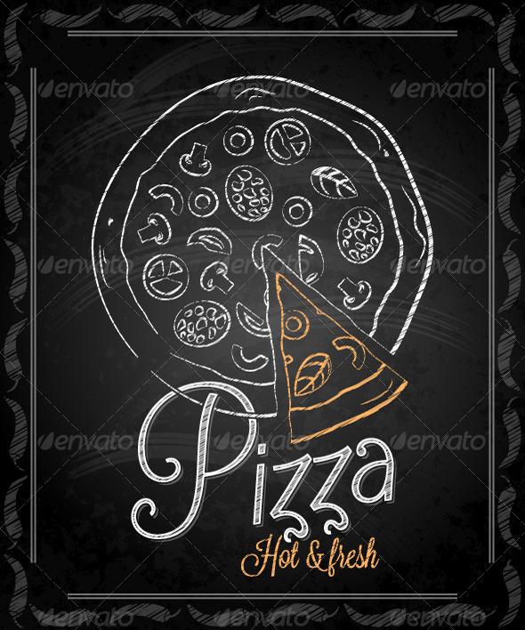 GraphicRiver Chalkboard Framed Pizza Menu 5422766