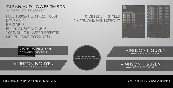 After Effects Project - VideoHive Clean HUD Lower Thirds Pack 558017