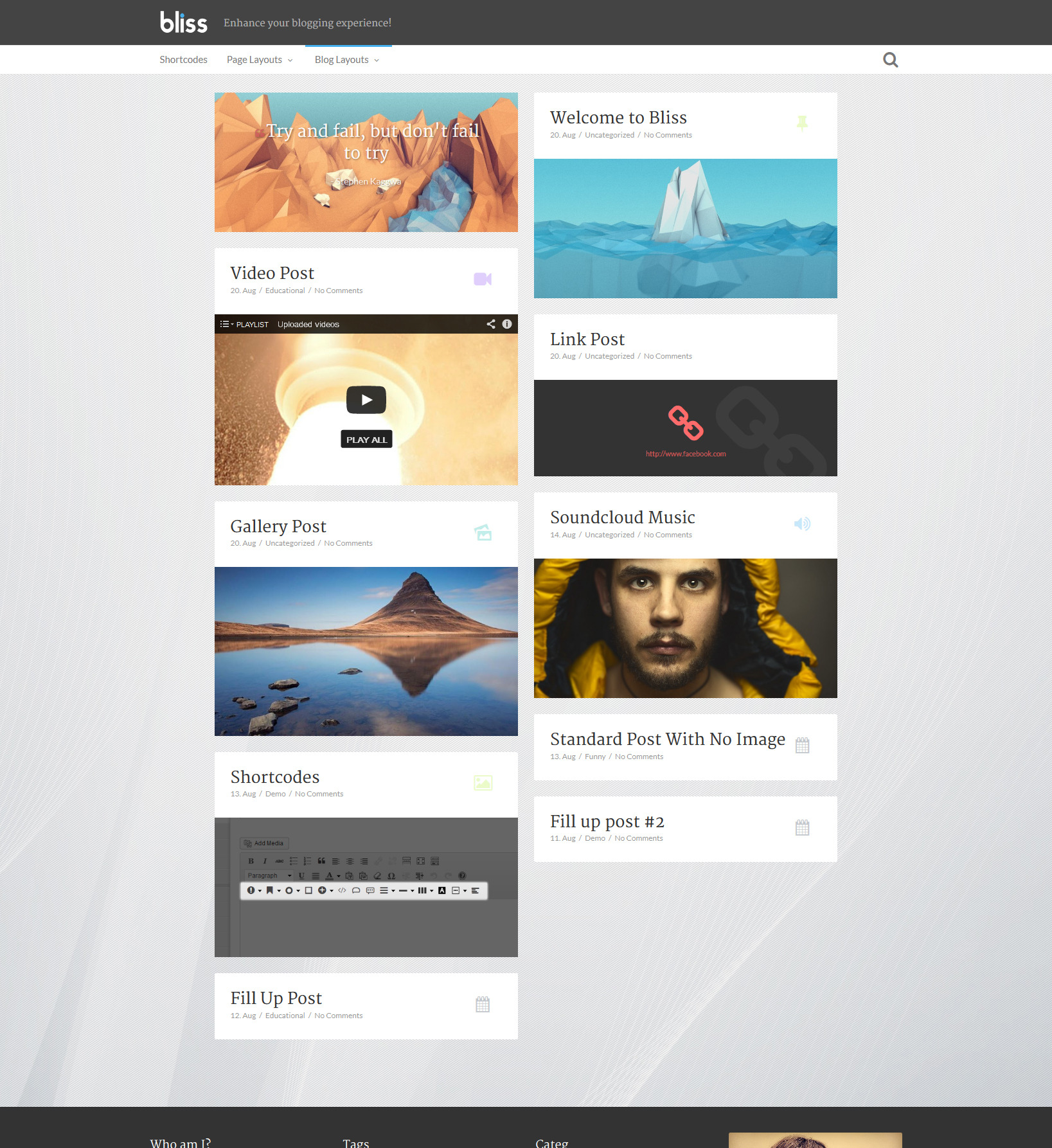 Bliss | Personal Minimalist Wordpress Blog Theme