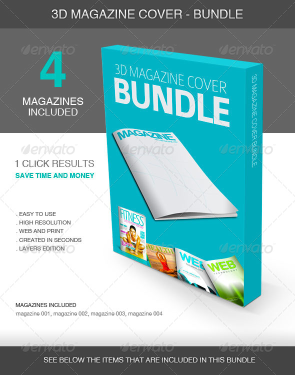 GraphicRiver 3D Magazine Cover Bundle 5423790
