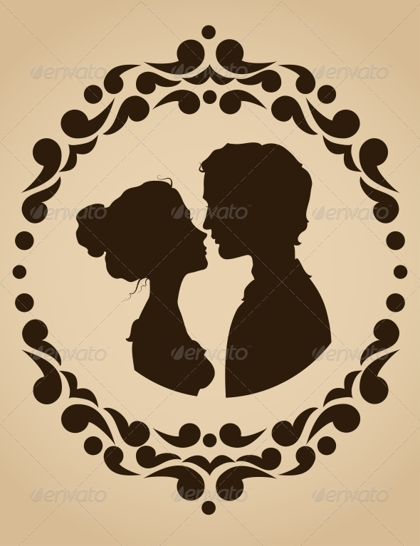 GraphicRiver Silhouettes of Kissing Couple 5425056