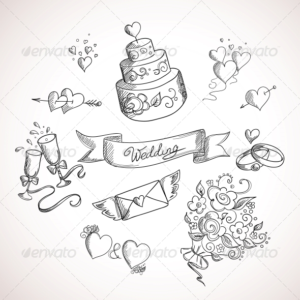 GraphicRiver Sketch of Wedding Design Elements 5425410