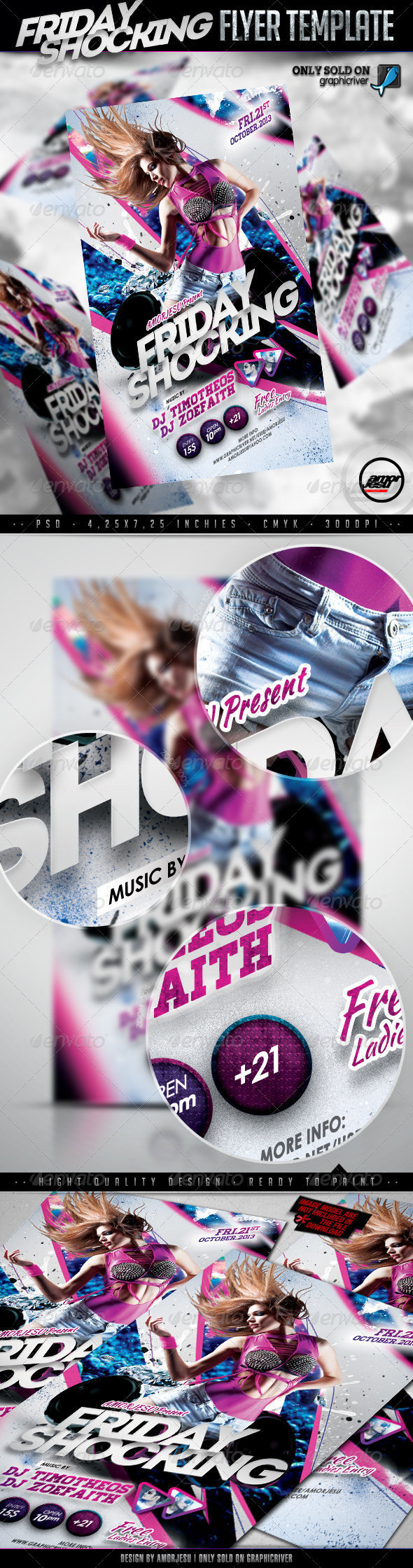 Friday Shocking Flyer Template - Clubs & Parties Events