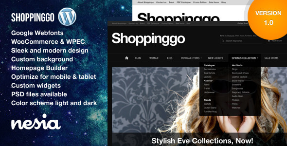 View live Demo for Shoppinggo - Responsive WordPress e-commerce Theme