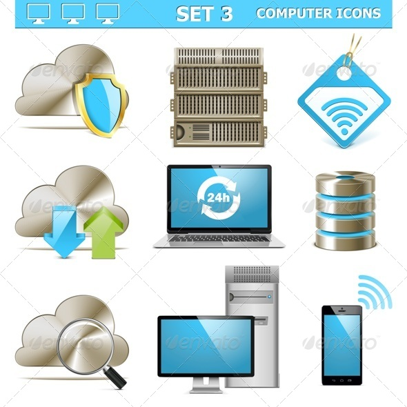 GraphicRiver Vector Computer Icons Set 5428219