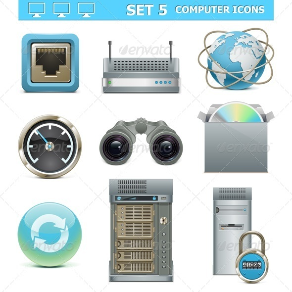 GraphicRiver Vector Computer Icons Set 5428253