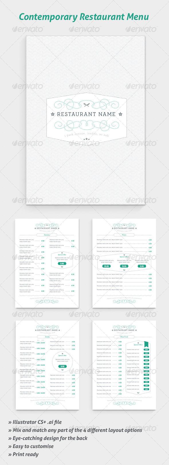 GraphicRiver Contemporary Restaurant Menus 5429795
