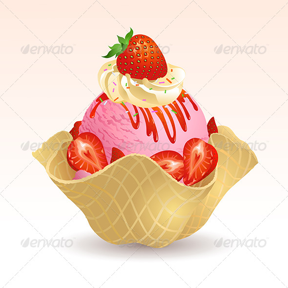 GraphicRiver Strawberry Ice Cream with Waffle Basket 5430796