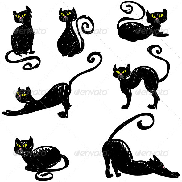 GraphicRiver Hand Drawn Black Cats Set Vector 5432285
