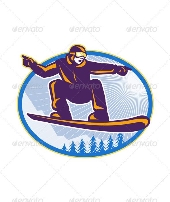 GraphicRiver Snowboarder Holding Snowboard Retro 5433117