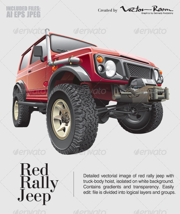 GraphicRiver Red Rally Jeep 5433726