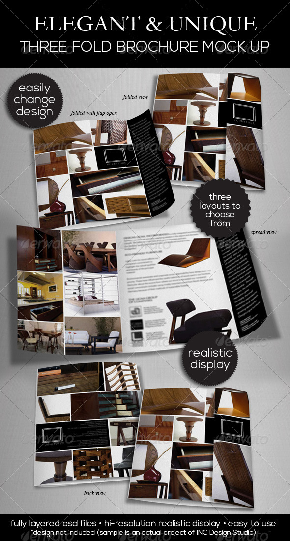GraphicRiver Elegant & Unique Three Fold Brochure Mock Up 5396825