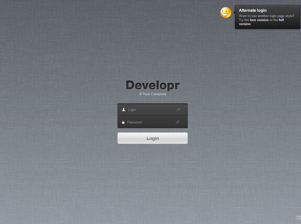 Developr - Fully Responsive Admin Skin - The basic login page